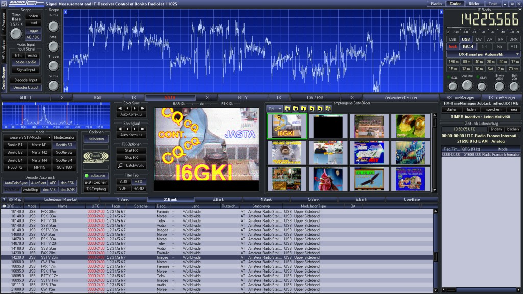 RadioJet Software SSTV mit Scope